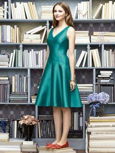 V-neck tea length bridesmaid dress