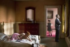 "Edward Hopper, ""Pink bedroom (family)"" remake.  Photographer: Richard Tuschman"