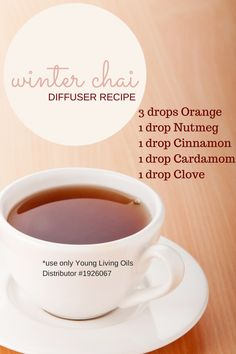 Diffuser Blends Love this essential oils winter chai diffuser recipe. Several more good holiday recipes for diffusing in the post!Love this essential oils winter chai diffuser recipe. Several more good holiday recipes for diffusing in the post! Cooking With Essential Oils, Essential Oil Diffuser Blends, Doterra Essential Oils, Young Living Essential Oils, Diffuser Recipes, Diffuser Diy, Doterra Diffuser, Perfume, Aromatherapy Oils