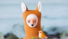 Fox stuffed animal, plush fox doll, woodland animal decor, red fox, forest animal doll, fantastic fox figurine, stuffed animal totem