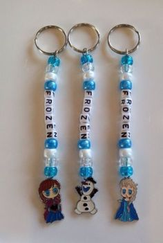 2-Personalised-Frozen-Inspired-Beaded-School-Bag-Name-Tags-keyrings-Hand-Made