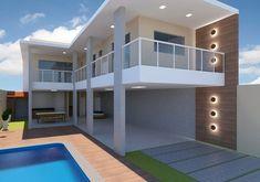 Casa em L: +80 Inspirações de Plantas e Projetos para 2020 Beach House, Decoration, Contemporary, Mansions, House Styles, Bed, Places, Sims, Furniture