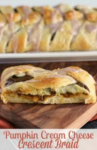 Pumpkin Cream Cheese Crescent ~ Flaky Crescent Rolls Braided and Stuffed with Cream Cheese and Pumpkin! Drizzled with Cinnamon Icing! on MyRecipeMagic.com