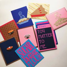 This is a beautiful set of 10 cards inspired by the Broadway musical Waitress. First a custom order we decided to offer to a few more who also love the art of baking. 10 A2 Cards with envelopes, that