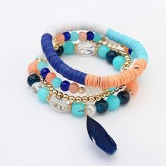 COMING SOON! Blue Multi Boho Feather Bracelet Please like to be notified..... Brand new elastic beaded bohemian style bracelet is adorned with a dainty feather. Made of alloy and resin. Please no holds, trades, or pp. Thank you!  Jewelry Bracelets