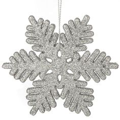 Christmas Ornament Set Silver 24pc Plastic Glitter Snowflake Seasonal Holiday #iPEGTOP
