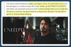 Nick Fury alarm clock… I need it Avengers