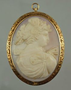 Oval Carved Shell Cameo Pendant/Brooch Depicting A Woman, Mounted In 14k Gold Mono Gram Setting