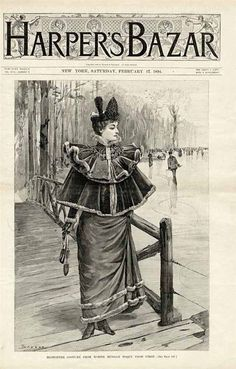 1894 HARPER'S BAZAR Fashion Cover Only - House of Worth Winter Costume #HouseofWorth