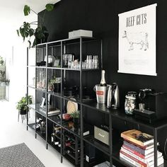 I love IKEA furniture because you can make it your own. There's always - IKEA Ikea Bar, Black Office Furniture, Ikea Furniture, Ikea Shelves, Display Shelves, Shelving Units, Ikea Vittsjo, Kitchen Bookshelf, Apartment Makeover