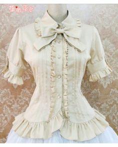 Cotton Short Sleeves Ruffles Bows Lolita Shirt 7 Colors $35.99-Lolita Shirts - My Lolita Dress-- custom tailoring/ lots of colors too