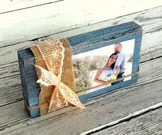 After the wedding, display your favorite photo in this burlap-wrapped frame. | http://emmalinebride.com/rustic/ways-use-burlap-weddings/