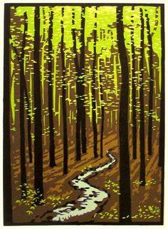 Spring Woods  || Laura Wilder  Linocut