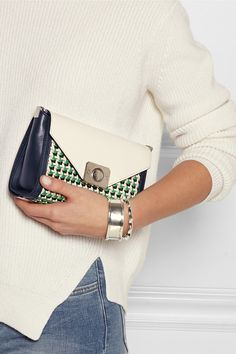 Mulberry|Delphie Duo small woven-paneled leather shoulder bag|NET-A-PORTER.COM