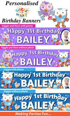 Wholesale Printers, - Personalised Giggle and Hoot Hootabelle Birthday Party Banner, $19.95 (http://www.wholesaleprinters.com.au/personalised-giggle-and-hoot-hootabelle-birthday-party-banner/)