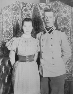 Grand Duchess Olga Alexandrovna with her brother Grand Duke Michael Alexandrovich. They had many adventures together in their youth.