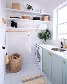 From much-needed laundry room organization to Dollar Tree laundry room hacks, these laundry room storage ideas are perfect for your laundry room makeover. Modern Laundry Rooms, Laundry Room Inspiration, Laundry Room Design, Laundry Decor, Laundry Closet, Small Shelves, Shelves For Laundry Room, Storage Shelves, Ikea Laundry Room Cabinets