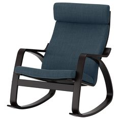 IKEA - POÄNG, Rocking chair, brown, Hillared dark blue, A variety of seat cushion designs makes it easy to change the look of your POÄNG chair and your living room. The frame is made of layer-glued bent oak which is a very strong and durable material. Billy Oxberg, Black And Brown, Dark Blue, Ikea Armchair, Ikea Stockholm, Ikea Ps, Ikea Family, Fabric Armchairs, Bedding