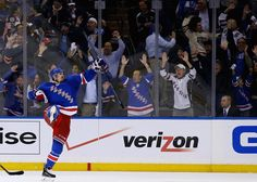 NEW YORK, NY - MAY 22:  Chris Kreider #20 of the New York Rangers celebrates his goal late in the third period against the Montreal Canadiens in Game Three of the Eastern Conference Final during the 2014 NHL Stanley Cup Playoffs at Madison Square Garden on