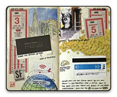 ephemera and drawing, add colour. fairly flat.Sketchbook.2010.11 by [o0] on flickr