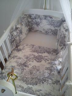 Vintage French Toile De Jouy crib bedding Bumper by SiennaChic, £45.00