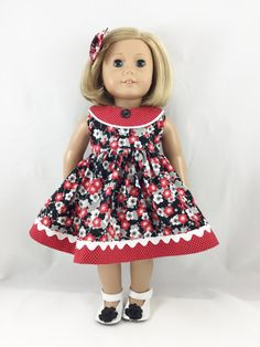Fits American Girl Doll Clothes 18 Inch Red Black by dressurdolly2