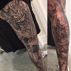 Leg sleeve Miyamoto Musashi Japanese samurai version in progress @chronicink #workproud #wearproud