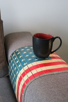 FREE SHIPPING Sofa Tray Table- Vintage American Flag, Couch Table, Couch Armrest Tray, Lap Desk, Christmas Gift, Housewarming Gift