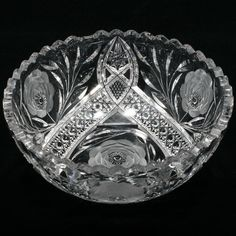 American Brilliant Cut Glass Bowl White Rose by Irving Antique 1900s Victorian | eBay
