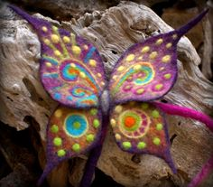 Colorful hair wrap felted butterfly by Petradi on Etsy, $38.00