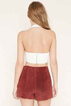 Lace-Up Cropped Halter Top