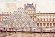 "Louvre with Pyramid in a sea of people in Paris France 8""X12"" photograph. $28.00"