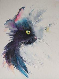 Cat watercolour illustration