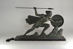 "1930.fr Bouraine : stunning art deco warrior 80cm / 31"" - Recent Acquisitions - Art deco sculptures bronze clocks vases"