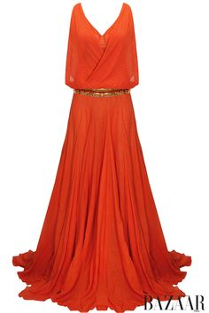 Tangerine cowl drape gown with sequins embellished belt available only at Pernia's Pop-Up Shop.