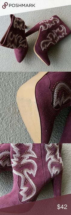 Beautiful Steve Madden Suede Booties Steve Madden High heel Suede booties like new. The design on these boots are beautiful. You will turn lots of heads. They were barely worn. Color is plum. Steve Madden Shoes Ankle Boots & Booties