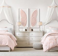 girls bedroom RH Baby & Child's Hand-Folded Paper Angel Wing Art - Pink:Each feather of our magnificent angel wings is cut from thick paper, then meticulously hand folded and affixed by Twin Girl Bedrooms, Sister Bedroom, Little Girl Rooms, Twin Bedroom Ideas, Canopy Bedroom, Girls Bedroom Pink, Pink Bedrooms, Bedroom Kids, Sisters Shared Bedrooms