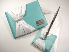Wedding Guest Book, Tiffany Blue Guest Book and Pen Set with Rhinestones and Personalized Engraving, $75.00
