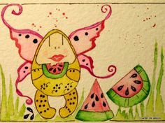 SWEET original WATERCOLOR aceo FREE shipping
