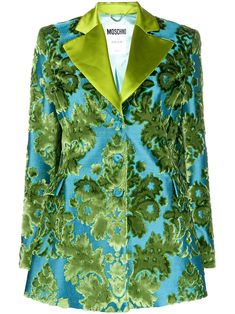 Green/blue velvet Tapestry jacquard-woven blazer from MOSCHINO featuring satin trim, patterned jacquard, shoulder pads, front button fastening, long sleeves and two side flap pockets. Jacquard Weave, Blue Velvet, Shoulder Pads, Front Button, Moschino, Blue Green, Tapestry, Satin, Pockets
