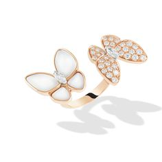 Two Butterfly Between the Finger Ring, pink gold, white gold, white mother-of-pearl, diamonds