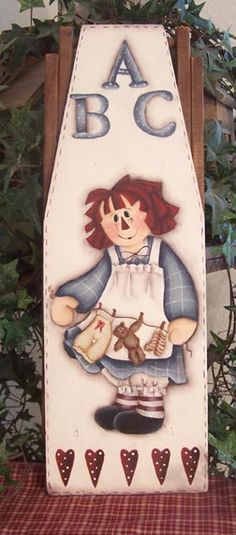 Raggedy Ann ABC Doll Ironing board by Cindy Trombley Painted Ironing Board, Wood Ironing Boards, Painted Boards, Arte Country, Pintura Country, Cute Paintings, Country Paintings, Doll Painting, Painting On Wood