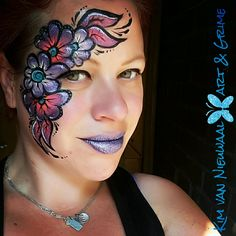 Inspired by Nicole Grayson one-stroke flowers facepaint with glitterlips One Stroke, Face Paintings, Flowers Nature, Watercolor Tattoo, Artists, Inspired, Tattoos, Inspiration, Ideas