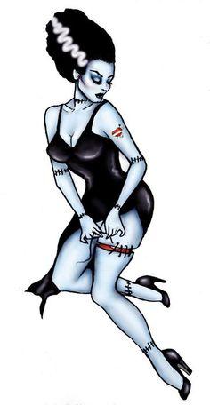 Bride of Frankenstein Pinup. Get more Halloween tattoo inspiration at www. Bride of Frankenstein Pinup. Get more Halloween tattoo inspiration at www. Tattoo Girls, Pin Up Girl Tattoo, Pin Up Tattoos, Body Art Tattoos, Girl Tattoos, Tatoos, Henna Tattoo Arm, Tattoo Wolf, Tattoo Ink