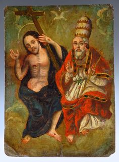 "Retablos -- -- ""El Padre Eterno Retablo"" -- Mexico - Spanish Colonial Art For Sale Catholic Saints, Patron Saints, A4 Poster, Poster Prints, St Dymphna, Praying For Someone, Blessed Virgin Mary, Classical Art, Vintage Artwork"