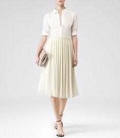 Womens Neutral Micro Pleat Midi Skirt - Reiss Helena