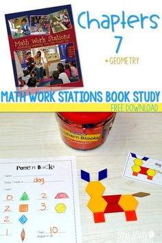 Math Work Station Book Study: Geometry (with free files) Geometry Activities, Kids Learning Activities, Free Activities, Numeracy Activities, Math Stations, Math Centers, Work Stations, Kindergarten Freebies, Kindergarten Activities