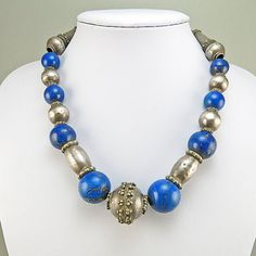 Vintage Lapis Silver Necklace Ethnic Jewelry by OldCoralJewelry
