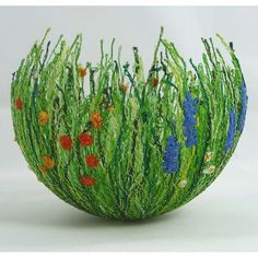 bowls made from yarn and glue