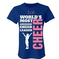 ZOE. Awesome cheerleader  | A wonderful shirt for any cheerleader. Beautiful colours to choose from and you can even customize it by changing the name to make it yours. You will love it!